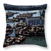Pier 39 San Francisco Bay Throw Pillow by Aidan Moran