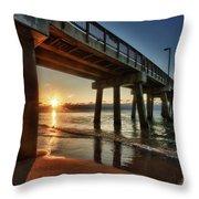 Pier Sunrise Throw Pillow by Michael Thomas