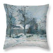 Piettes House At Montfoucault Throw Pillow by Camille Pissarro
