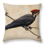 Pileated Woodpecker Throw Pillow by Crista Forest