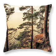 Pine Trees Of Holy Island Throw Pillow by Jenny Rainbow