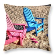 Pink And Blue Beach Chairs With Matching Flip Flops Throw Pillow by Michael Thomas