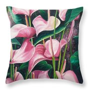 Pink Anthuriums Throw Pillow by Karin  Dawn Kelshall- Best