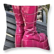 Pink Boots Throw Pillow by Jasna Buncic