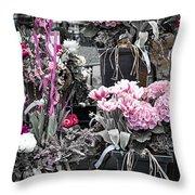 Pink Flower Arrangements Throw Pillow by Elena Elisseeva