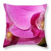 Pink Orchids Throw Pillow by Sabrina L Ryan