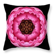 Pink Peony Flower Mandala Throw Pillow by David J Bookbinder