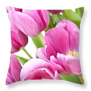 Pink Tulips Throw Pillow by Elena Elisseeva
