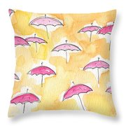Pink Umbrellas Throw Pillow by Linda Woods