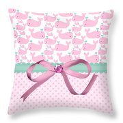 Pink Whales Throw Pillow by Debra  Miller
