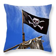 Pirate Flag On Ships Mast Throw Pillow by Garry Gay