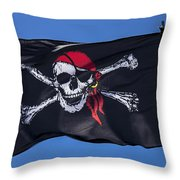 Pirate Skull Flag With Red Scarf Throw Pillow by Garry Gay