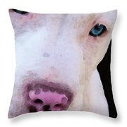 Pit Bull Art - Not A Fighter Throw Pillow by Sharon Cummings