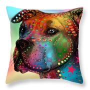 Pit Bull Throw Pillow by Mark Ashkenazi