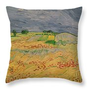 Plain At Auvers Throw Pillow by Vincent Van Gogh