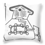 Plan Of The Bastille Throw Pillow by Granger
