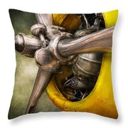 Plane - Pilot - Prop - Twin Wasp Throw Pillow by Mike Savad