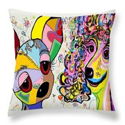 Playful Pups Throw Pillow by Eloise Schneider