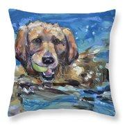 Playful Retriever Throw Pillow by Donna Tuten
