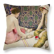 Playing Knucklebones Throw Pillow by Paul Alexander Alfred Leroy