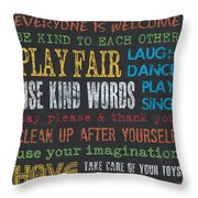 Playroom Rules Throw Pillow by Debbie DeWitt