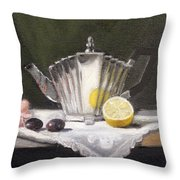 Pleated Teapot with Lemon Throw Pillow by Sarah Parks