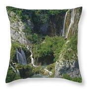 Plitvice Lakes In Croatia Throw Pillow by Rudi Prott