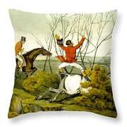 Plunging Through The Hedge From Qualified Horses And Unqualified Riders Throw Pillow by Henry Thomas Alken