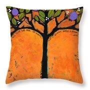 Poe Tree Art Throw Pillow by Blenda Studio