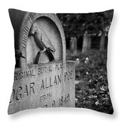 Poe's Original Grave Throw Pillow by Jennifer Ancker