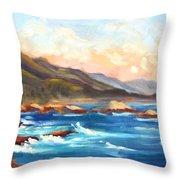 Point Lobos Sunset Throw Pillow by Karin  Leonard