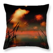 Pointing at the Moon Throw Pillow by Mal Bray