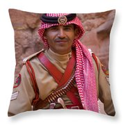 Policeman In Petra Jordan Throw Pillow by David Smith