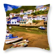 Polperro At Low Tide Throw Pillow by David Smith