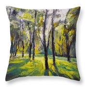 Pontefract Park At Sunset Throw Pillow by Michael Creese
