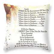 Pope Francis St. Francis Simple Prayer Angel Of Peace       Throw Pillow by Desiderata Gallery