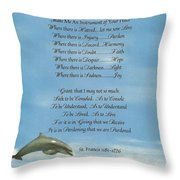 Pope Francis St. Francis SIMPLE PRAYER Dance of the Dolphins Throw Pillow by Desiderata Gallery