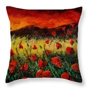 Poppies 68 Throw Pillow by Pol Ledent