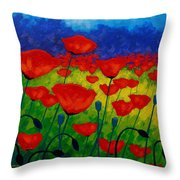 Poppy Corner II Throw Pillow by John  Nolan