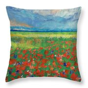 Poppy Field Throw Pillow by Michael Creese