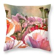 Poppy Madness Throw Pillow by Kris Parins
