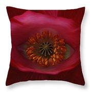 Poppy's Eye Throw Pillow by Barbara St Jean