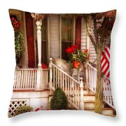 Porch - Americana Throw Pillow by Mike Savad