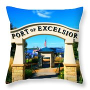 Port Of Excelsior Throw Pillow by Perry Webster