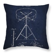Portable Drum Patent Drawing From 1903 - Blue Throw Pillow by Aged Pixel