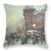 Porte St Martin In Paris Throw Pillow by Eugene Galien Laloue