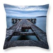 Portencross Pier  And Views To Arran Throw Pillow by John Farnan