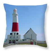 Portland Bill Lighthouse Throw Pillow by Terri  Waters