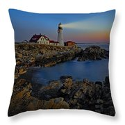 Portland Head Light Sunrise Throw Pillow by Susan Candelario