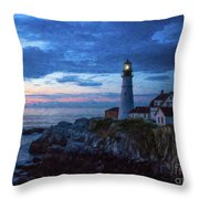 Portland Head Lighthouse Throw Pillow by Diane Diederich